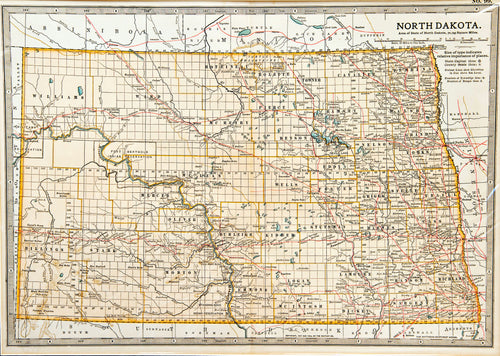 North Dakota - Antique Map circa 1910