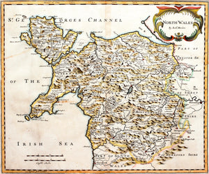 North Wales - Antique Map by Robert Morden circa 1695