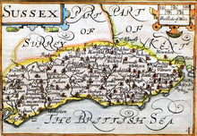 Load image into Gallery viewer, Pieter Van Den Keeres Small Map of Sussex - circa 1627