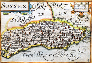 Pieter Van Den Keeres Small Map of Sussex - circa 1627