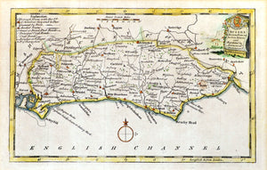 Map of Sussex - Antique Map by Thomas Kitchin circa 1786