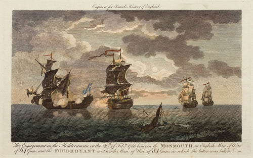 The Engagement Between the Monmouth and the Foudroyant - Antique Copper Engraving circa 1780