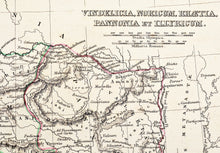 Load image into Gallery viewer, Vindelicia Noricum Rhaetia Pannonia et Illyricum - Antique Map circa 1850