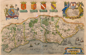A New Map of Sussex Corrected and Amended Rare Map circa 1685