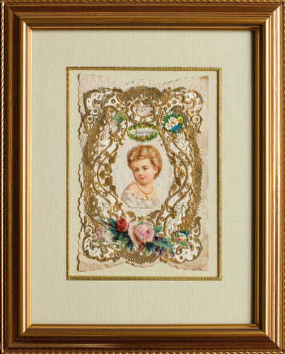 Absent but Dear - Original Antique Victorian Valentine Card circa 1870