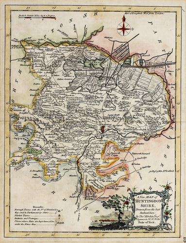 A New Map of Huntingdonshire - Antique Map by Thomas Kitchin circa 1764