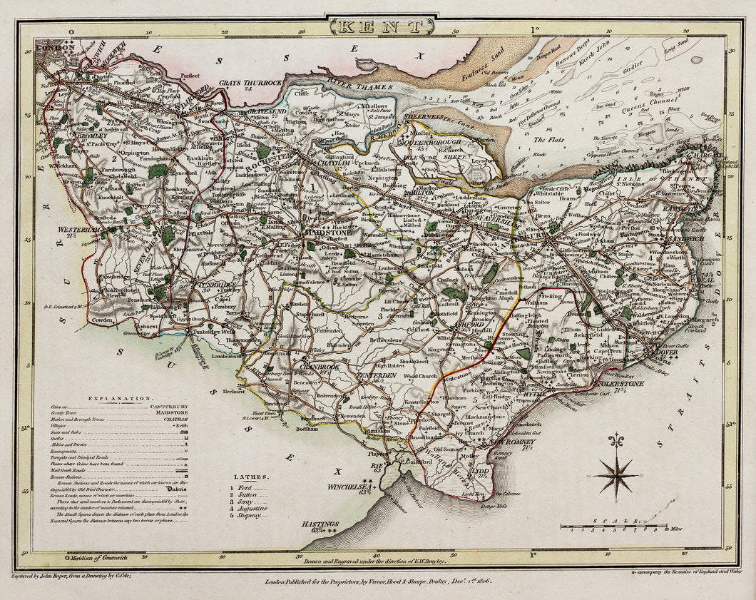Kent - Antique Map by Cole/Roper circa 1806