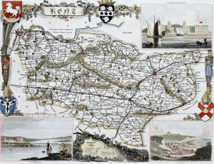 Kent - Antique Map by Thomas Moule circa 1848
