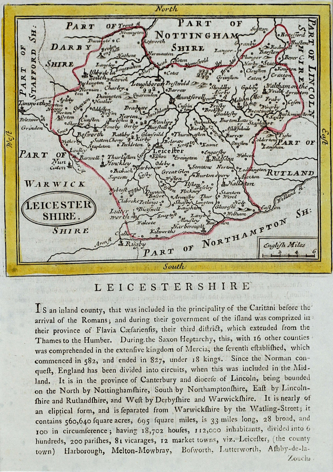 Leicestershire - Antique Map by Seller/Grose 1694 - 1787