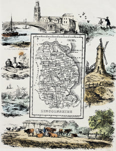 Lincolnshire - Antique Map by R Ramble circa 1845