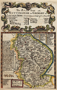The Road from Nottingham to Grimsby - Antique Map circa 1720