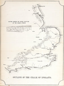 Outline of the Chalk Strata of Southern England - Antique Map 1851