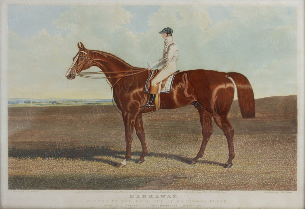 Aquatint of 'Harkaway' Winner of the Gold Cup at Goodwood 1838/9