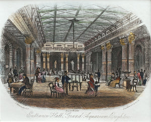 Entrance Hall Grand Aquarium Brighton - Antique Steel Engraving 1876
