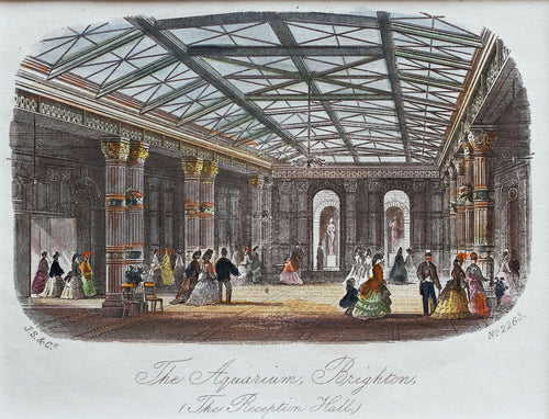 The Reception Hall The Grand Aquarium Brighton - Antique Steel Engraving 1873