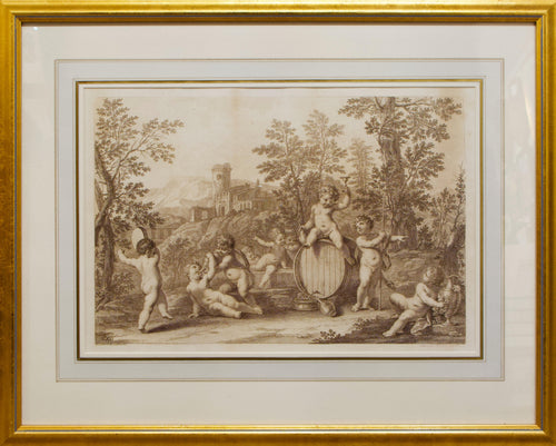 Bacchanal of Putti - Pair of Antique Etchings by Bartolozzi circa 1765