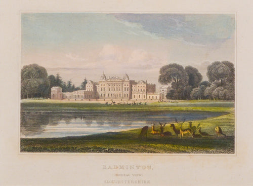 Badminton Gloucestershire - Antique Steel Engraving circa 1838