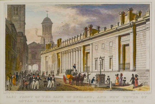 East Front of the Bank of England - Antique Steel Engraving circa 1828