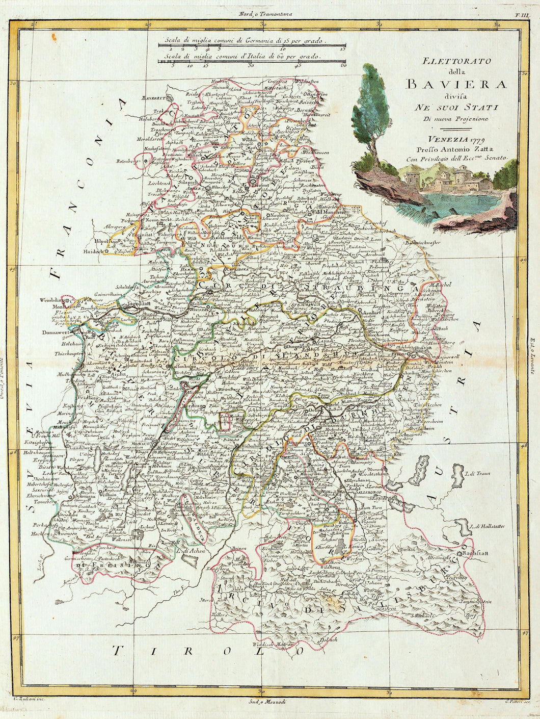 Bavaria - Antique Map circa 1779