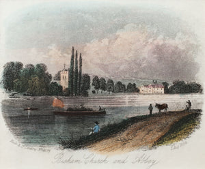 Bisham Church and Abbey - Antique Steel Engraving circa 1859