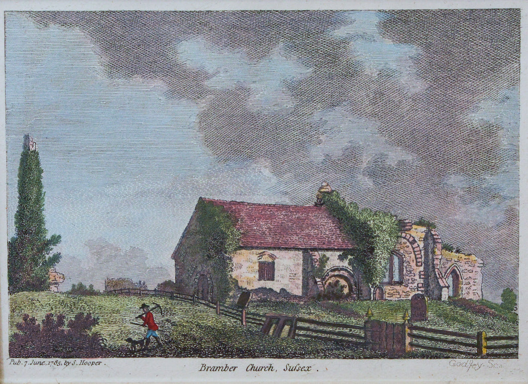 Bramber Church Sussex - Antique Copper Engraving circa 1765