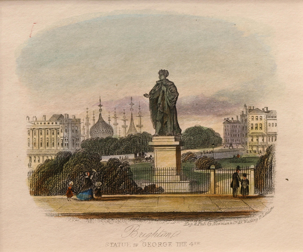 Brighton Statue of George the 4th - Antique Steel Engraving circa 1850