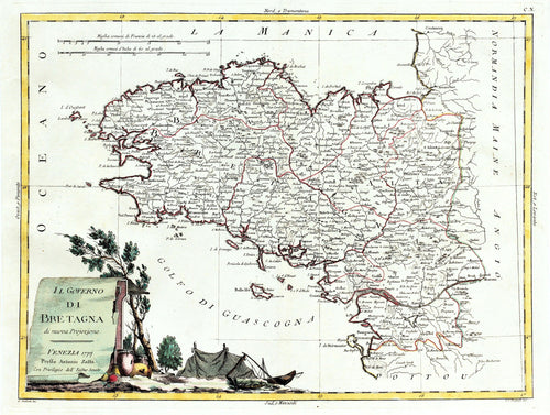 Brittany - Antique Map circa 1777
