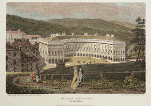 Buxton Crescent Derbyshire - Antique Copper Engraving circa 1804