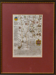 The Road from Cambridge into Northamptonshire - Antique Route Map circa 1720