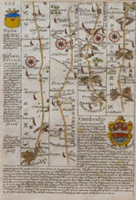 Load image into Gallery viewer, The Road from Cambridge into Northamptonshire - Antique Route Map circa 1720