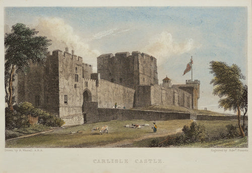 Carlisle Castle - Antique Steel Engraving circa 1829