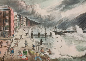 Chain Pier at Brighton During the Late Tempest - Aquatint circa 1880