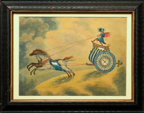 Charioteer Calendar - Antique Original Watercolour 19th Century