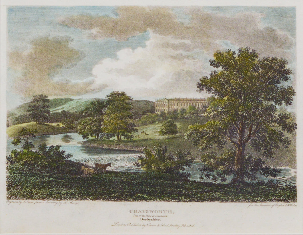 Chatsworth Derbyshire - Antique Copper Engraving circa 1806