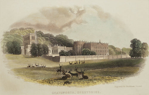 Chatsworth Derbyshire - Antique Steel Engraving circa 1860