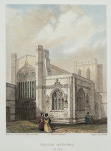 Chester Cathedral South West View - Antique Steel Engraving circa 1842
