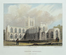 Load image into Gallery viewer, Chester Cathedral South East View - Antique Steel Engraving circa 1842