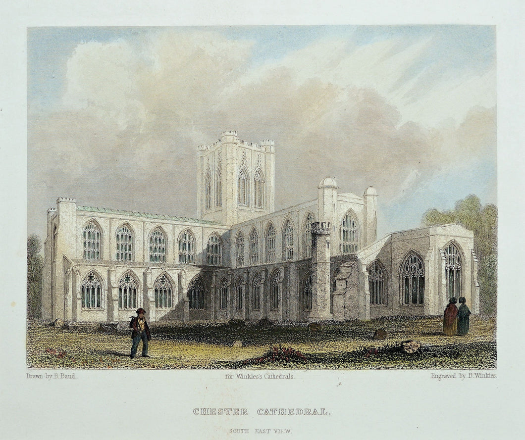 Chester Cathedral South East View - Antique Steel Engraving circa 1842