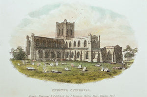 Chester Cathedral - Antique Steel Engraving circa 1851