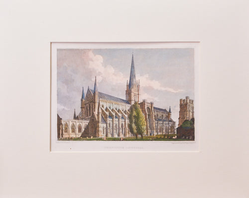 Chichester Cathedral - Antique Steel Engraving circa 1834
