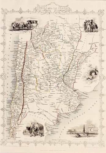 Chili and La Plata - Antique Map circa 1851