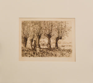 Cleve Mill Gloucester - Antique Etching by Heywood Sumner circa 1880