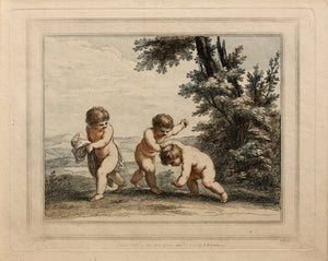 Cupids at Play Stipple Engraving by Bartolozzi 1787
