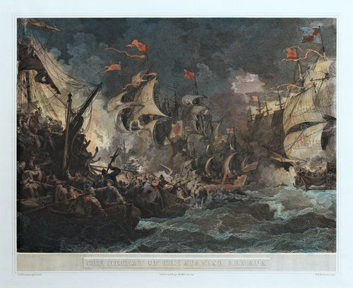 The Defeat of the Spanish Armada - Antique Copper Engraving 1805