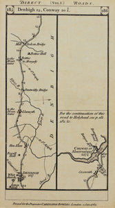 Denbigh to Conway - Antique Map 1785