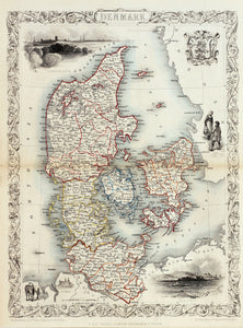 Denmark - Antique Map circa 1851