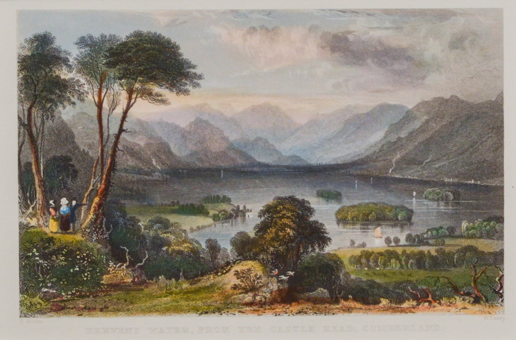 Derwent Water From the Castle Head - Antique Steel Engraving circa 1836