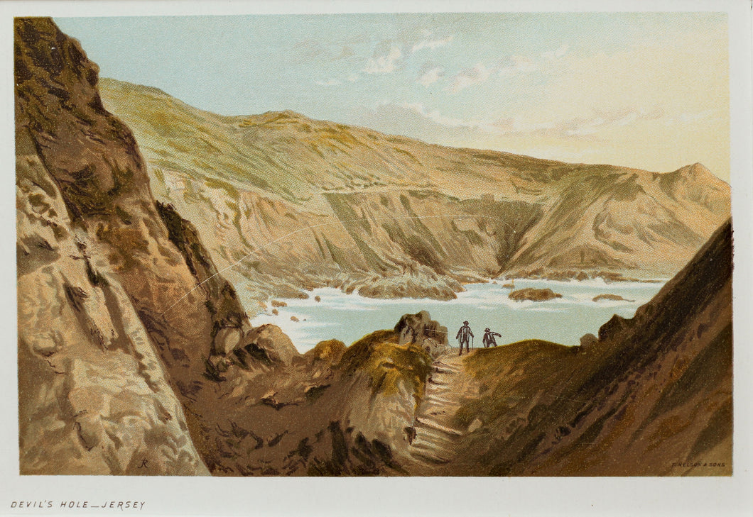 The Devils Hole, Jersey - Antique Chromolithograph circa 1880