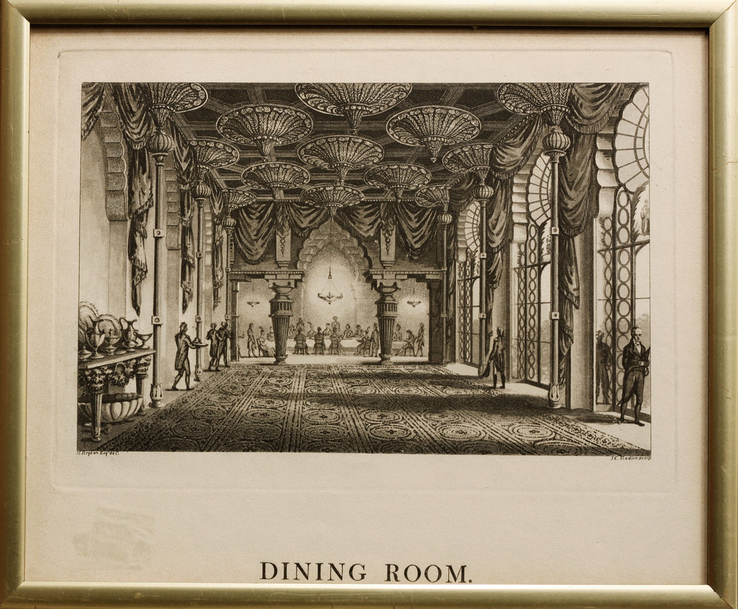 Dining Room Royal Pavilion Brighton  Aquatint 1808