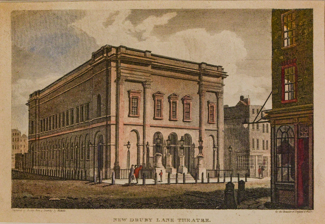New Drury Lane Theatre - Antique Copper Engraving circa 1813